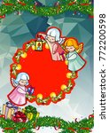 christmas holiday card with... | Shutterstock . vector #772200598