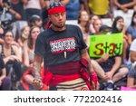 an activist wearing a t shirt... | Shutterstock . vector #772202416