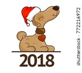 happy new year dog. greeting... | Shutterstock .eps vector #772216972