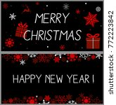 christmas background with red... | Shutterstock .eps vector #772223842
