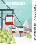 ski resort  red cabin lift ... | Shutterstock .eps vector #772224352