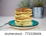 a stack of canadian breakfast... | Shutterstock . vector #772228606