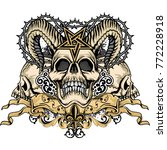 gothic coat of arms with skull  ... | Shutterstock .eps vector #772228918