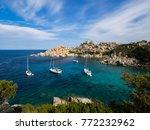 boats anchoring at capo testa ... | Shutterstock . vector #772232962