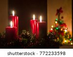 four red candles burning on...   Shutterstock . vector #772233598