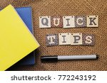 quick tips concept.book  pen... | Shutterstock . vector #772243192