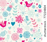 cute floral seamless with birds | Shutterstock .eps vector #77224804