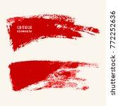 vector set of red brush strokes.... | Shutterstock .eps vector #772252636
