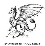 Sketch Of A Dragon. Hand Drawn...