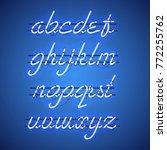 glowing blue neon script font... | Shutterstock .eps vector #772255762