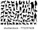 Stock vector set of dog silhouettes 772257628