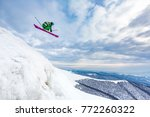 good skiing in the snowy... | Shutterstock . vector #772260322