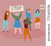 women protesters with stop and... | Shutterstock .eps vector #772265536