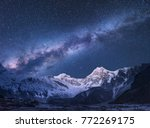 milky way and mountains.... | Shutterstock . vector #772269175