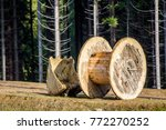 Empty Wooden Roll That Is Used...