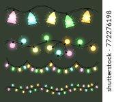 set of christmas color garlands ... | Shutterstock .eps vector #772276198