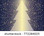 golden christmas tree and... | Shutterstock .eps vector #772284025