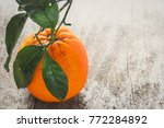 fresh ripe orange with green... | Shutterstock . vector #772284892