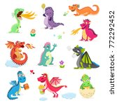dragon cartoon cute dragonfly... | Shutterstock . vector #772292452