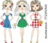 set beautiful fashion girls top ... | Shutterstock .eps vector #772292965