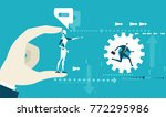 future reality  robot vs human. ... | Shutterstock .eps vector #772295986