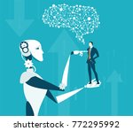 future reality  robot vs human. ... | Shutterstock .eps vector #772295992