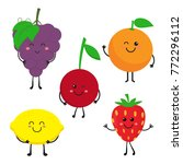 cute bright colors of fruits...   Shutterstock .eps vector #772296112