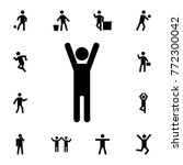man with raised arms icon. set... | Shutterstock .eps vector #772300042