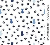 cats and paw print seamless... | Shutterstock .eps vector #772301428