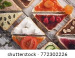 close up of a various sliced... | Shutterstock . vector #772302226