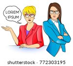 business woman in glasses and... | Shutterstock .eps vector #772303195