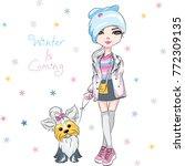 vector beautiful fashion... | Shutterstock .eps vector #772309135