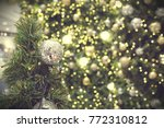 decorated christmas tree on... | Shutterstock . vector #772310812