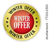 red winter offer badge with... | Shutterstock .eps vector #772311502