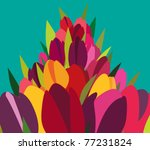 vector bunch of colorful tulips | Shutterstock .eps vector #77231824
