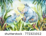 watercolor rhino family. cute... | Shutterstock . vector #772321012