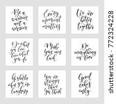 set of 9 calligraphy quotes.... | Shutterstock .eps vector #772324228