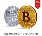 bitcoin. 3d isometric physical... | Shutterstock .eps vector #772324378