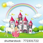 background scene with princess... | Shutterstock .eps vector #772331722