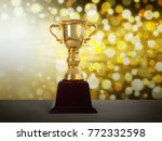 gold trophy cup with abstract... | Shutterstock . vector #772332598