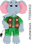 funny elephant cartoon standing ... | Shutterstock .eps vector #772333312