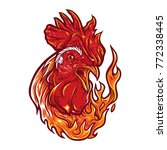 angry rooster with flames. | Shutterstock .eps vector #772338445