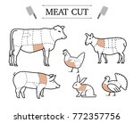 diagram of cutting meat. set of ... | Shutterstock .eps vector #772357756