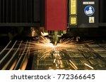 cnc laser cutting metal sheet... | Shutterstock . vector #772366645