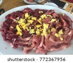 hot pot of buffalo meat ... | Shutterstock . vector #772367956