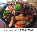 hot pot of buffalo meat ... | Shutterstock . vector #772367962