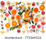 Creative Flat Layout Of Fruit...