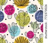 Cute Cactus. Colorful Seamless...