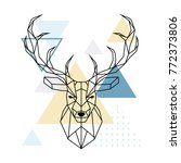 deer polygonal head.... | Shutterstock .eps vector #772373806