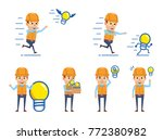 cheerful construction workers... | Shutterstock .eps vector #772380982
